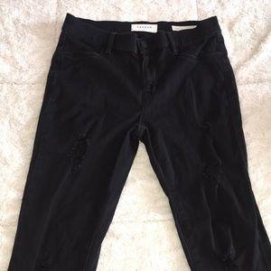 black distressed skinny jeggings